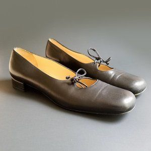 Black Leather Square Toe Loafers Ballet Flats